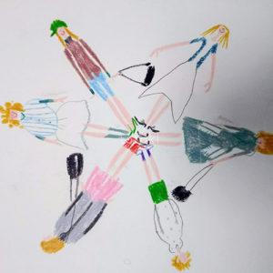 女の子が輪になっている色鉛筆イラスト