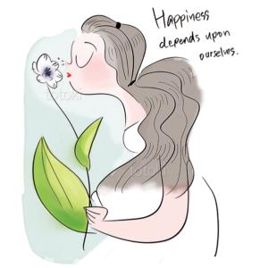 花の香りにうっとりする女性のイラスト