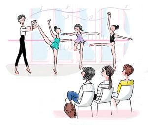 子供のバレエ教室を見学する親のイラスト