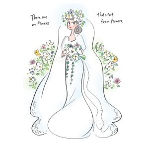 ウェディングドレスの花嫁さんのイラスト