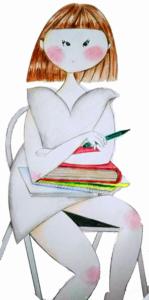 おかっぱ女子の色鉛筆イラスト