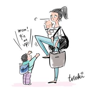 赤ちゃんを抱っこして大荷物のお母さんに向かって上の子が抱っこして!て手を差し伸べているところ