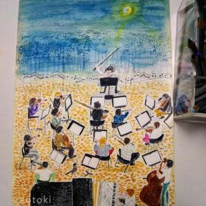 秋の演奏会の色鉛筆のイラスト