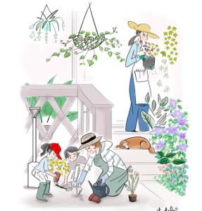 おばあちゃんと孫が花を植えているイラスト