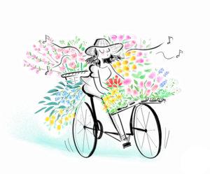 花を沢山積んだ自転車イラスト
