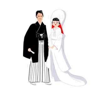 白無垢と袴姿の結婚式イラスト