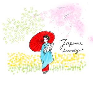 桜、菜の花、もみじの中の舞妓さん