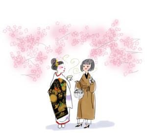 桜見をする舞妓さんと友人