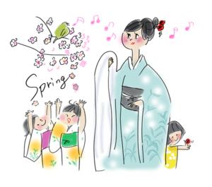 子連れ花見を着物で