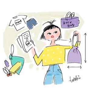入学準備をする女性のイラスト