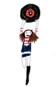 レコード盤を持った女の子の手描きイラスト