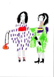 色鉛筆で描いた和装女子
