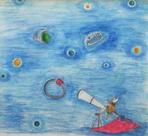 宝石を望遠鏡で眺める女の子の色鉛筆画イラスト