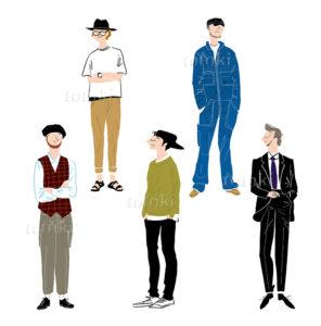 ノームコア 作業着 スーツ ベレー帽 色々なファッションの男性