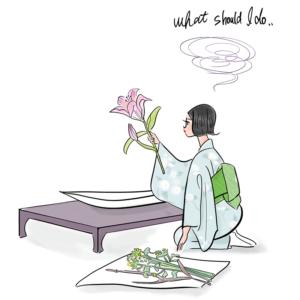 生け花をする和服女性のイラスト
