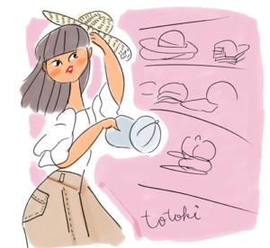 買い物をしている女性のイラスト
