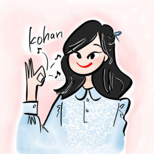 okのポーズのブラウスを着た女の子のイラスト
