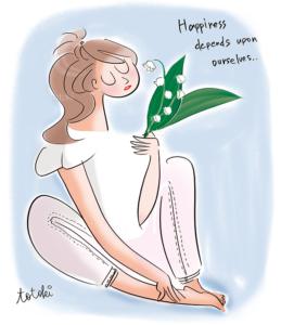 すずらんを持った女性のイラスト