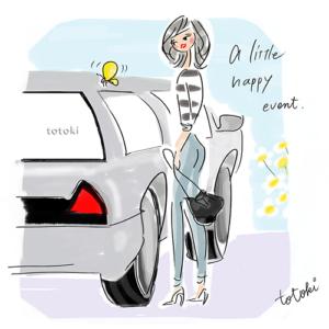車と女性のイラスト