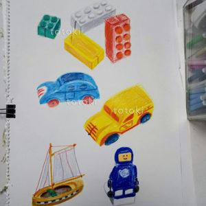 色鉛筆で描いたレゴのイラスト