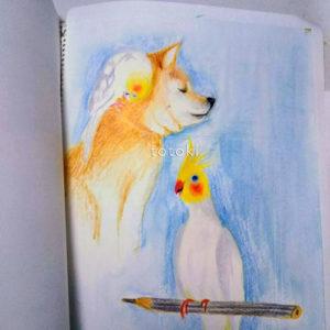 色鉛筆画の柴犬とおかめインコ