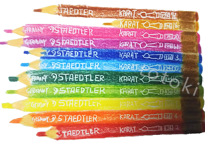 水彩色鉛筆を水彩色鉛筆で描いたイラスト