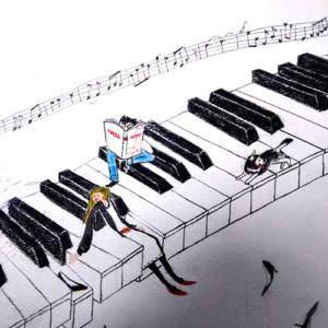 ピアノの上に人がいる色鉛筆画