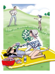 公園の芝生でキャッチボールをしたり寝っ転がって過ごす家族との時間のイラスト