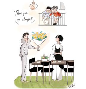 パパがママへ花束をプレゼント 子供達も嬉しそうなイラスト