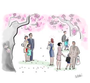 桜咲く入学式のイラスト