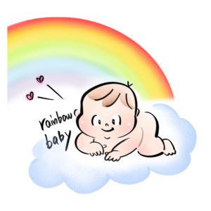 虹と雲の上の赤ちゃんのイラスト