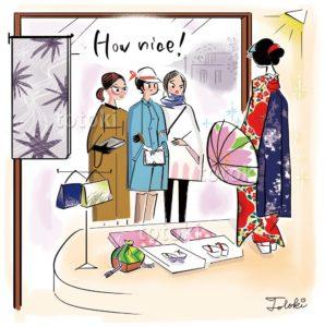 呉服店の着物に見とれる女性のイラスト