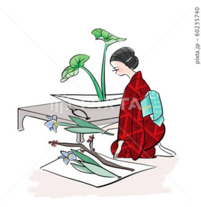 生け花をする和服の女性イラスト