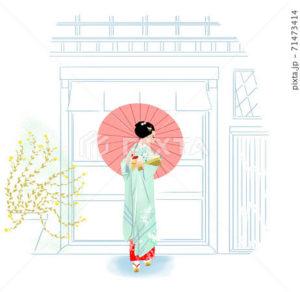 店先に立ち、傘をさす和服姿の女性