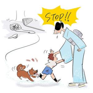 着物姿の女性に近づき寸でで止められる子供と犬のイラスト