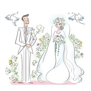 結婚式のカップルイラスト