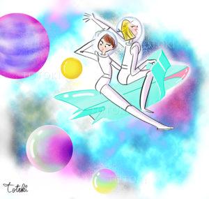 宇宙遊泳する女性のイラスト