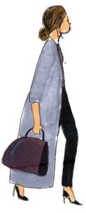 ロングコートと大きいバッグを持った横向きの女性イラスト