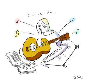 ギターを練習する女性のイラスト