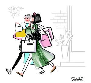 買い物袋をたくさんもって歩く女の子のイラスト