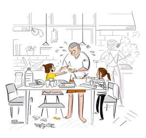 家族で餃子作りをするイラスト