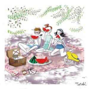 木陰でスイカを食べる女性たちのイラスト