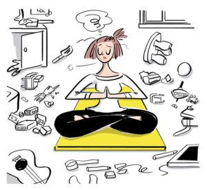 散らかった部屋で瞑想する女性のイラスト