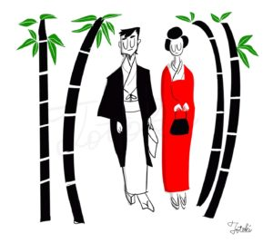 竹林をデートする和服姿の男女イラスト